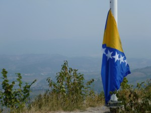 Bosnian Flag. Summit, Pyramid of the Sun.